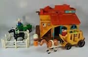 Vintage Fisher Price Little People Play Family Western Town Horse Carriage