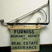 Antique Real Estate And Insurance Wood Advertising 2 Sided Sign W/metal Bracket