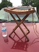 Vtg Folding Wood Table Or Seat Stool - Portable Camping Beach Rv Antique Signed