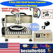 800w 4axis 3040 Cnc Router Engraver Wood Cutter Drill Mill Machine Water-cool+rc