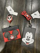 Disney Parks Mickey Mouse Club Mouseketeer Retractable Cardholder And Lanyard
