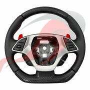 2014-2019 C7 Corvette Manual Leather And Carbon Fiber Steering Wheel Red Stitching