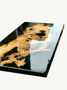 Black Epoxy Resin River Dining Custom Coffee Table Top Wood Acacia Table Decors