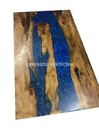 Acacia Epoxy Table Blue Resin River Custom Conference Table For Office Meeting