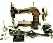 Antique Sewing Machine Landacuteincomparable Very Rare Circa 1888 Complete +wooden Box