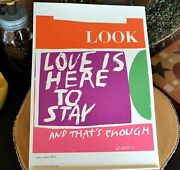 Sister Mary Corita Kent Poster Love Is Here To Stay 10x14 Vtg 1968 Print Beatles