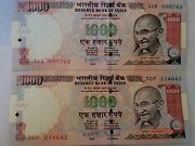 -india Paper Money-2 'm.gandhi' Currency Notes-2012- Rs.1000/- 1 With Symbole21