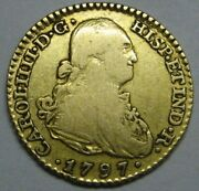 1797 Madrid 1 Escudo Charles Iv Spain Gold Doubloon Spanish Colonial Era