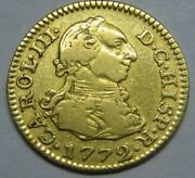 1772 Madrid 1/2 Escudo Charles Iii Spain Gold Doubloon Spanish Colonial Era