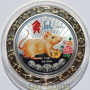 2008 Niue Lunar Year Of The Rat Mouse 1oz Silver Color Proof Coin Australia Mint