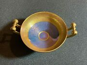 Pickard Gold And Blue Encrusted Dish W/h Handles In Famous Rose And Daisy Pattern