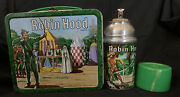 Robin Hood Lunchbox And Thermos By Aladdin Vtg 1956 Green Cap Metal Stopper