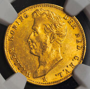 1826, Netherlands, William I.gold 5 Gulden Coin. 1st Year Of Type Ngc Ms-61