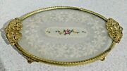 Antique Brass Filigree Petit Point Needlework Lace And Glass Dressing Table Vanity