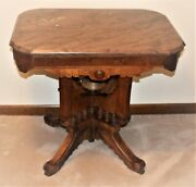 Antique Victorian Marble Top Parlor Table Eastlake Style