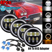 4x 5.75inch Led Projector Headlight Angle Eyes Drl Fit Chevy Gmc Corvette C1 C2