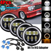 4x 5.75 Inch Led Projector Headlight Angle Eyes Drl Fit Chevy Bel Air Corvette