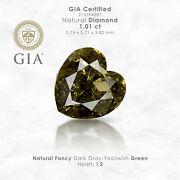 Gia Certified 1.01 Ct. Fancy Yellow Green Loose Natural Diamond Heart Solitaire
