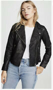 New Madewell Black Washed Leather Motorcycle Jacket - Womens Size M Msrp 498