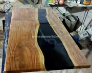 Deep Black Resin River Epoxy Dining Custom Conference Table Top Acacia Wood Deco