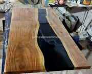 Deep Black Resin River Epoxy Dining Custom Conference Table Top Live Edge Decor