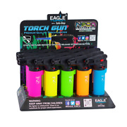 Eagle 4 Single Side Torch Gun Lighter Neon Colors W/rubber Coating 15and039s A Box