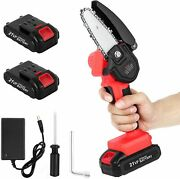 Cordless Electric Chain Saw Wood Cutter Mini One-hand Saw Woodworking And2 Battery