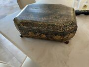 Chinese Black Lacquer Gaming Box 19th Century Octagonal Polychrome Gilt Gold