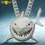 Over Size Iced Out Shark Pendant Necklace Full Of Crystal Bling Cz Stone