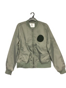 Cheap Monday Rank Patch Bomber Jacket Absent Green Size L Rrp £130 Dh012 Ff 13