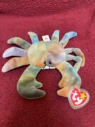 """Ty Beanie Baby 1996 """"claude """"the Crab Rare Pvc Pellets. Style 4083"""