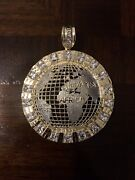 10k Real Solid Gold Two Tone World Pendant 3 Inch