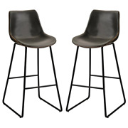 42.5 In. H Grey Vintage Leatherier Bar Stools With Back And Footrest Counter Hei