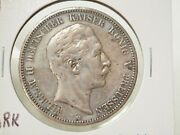1908-a Germany Prussia Silver 5 Mark Empire Crown 3-487