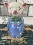 Vintage Shawnee Pig With Blue Bow Tie Piggy Bank