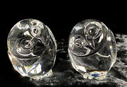 Pair Steuben Crystal Glass Owl Hand Coolers Or Paperweight - Signed