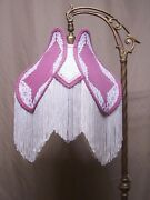 Vtg Lamp Shade Fabric Lace Tassel Art Deco Victorian Uno Fitter Hand Made R61