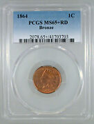 1864 Bronze Indian Cent Ms-65+ Red Pcgs Certified