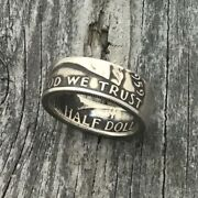 1959 Silver Franklin Half Dollar Ring Size 12 Handcrafted