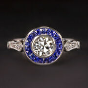 Gia Certified F Si1 Diamond Engagement Ring Old European Cut Sapphire Vintage