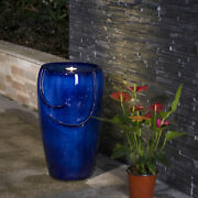 Glitzhome 20.5h Cobalt Blue Ceramic Outdoor Water Fountain With Led Light Pump