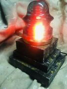 Handmade 'lighthouse Lamp With Antique Glass Insulator And Lo Wattage Led Lamp