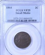 1864 Small Motto Two Cent Piece Pcgs Vf25