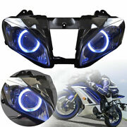 Motorcycle Black Assembled Headlight Hid Blue Angel Eyes For Yamaha Yzf R6 06-07