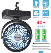 4400mah Camping Fan Led Lights Hanging Hookrechargeable Battery Operated Desk
