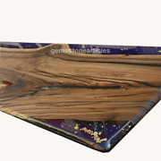 Top Resin River Epoxy Personalize Dining Table Top Wood Live Edge Art Home Decor