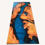 Handmade Collectible Acacia Epoxy Blue Resin Side River Office Meeting Table Top