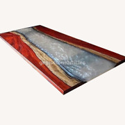 Clear White Resin River Acacia Wooden Epoxy Dining Coffee Table On Custom Order