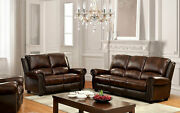 2pc Sofa Set Sofa Loveseat Brown Leather Living Room Couch Nailhead Rolled Arms