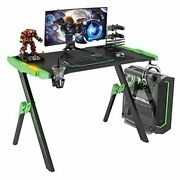 Gaming Desk 46.8and039and039 Computer Gaming Desk With Audio Sensor Rgb Led Green